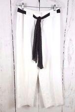 Evan Picone Size 4P White Linen Pants Sheer Polka Dot Belt Fully Lined
