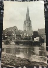England St Helen's Church from the river Abingdon RPPC - unposted