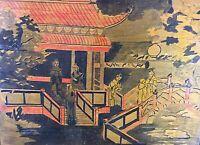 Rare Panneau japonisant Pyrogravé et coloré ancien Art Déco signé MB & daté 1930