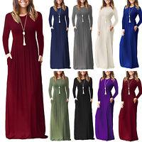 US Womens Pocket Long Maxi Dress High Waist Casual Party Tunic Dresses Longshirt