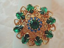 Vintage Gold Filigree Brooch with Emerald Green and Blue Rhinestones