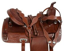 COMFY WESTERN PLEASURE TRAIL BARREL HORSE LEATHER SADDLE TACK SET 15 16 18