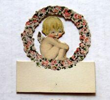 Vintage Bridge Tally Place Card Baby Angel w/ Flowers