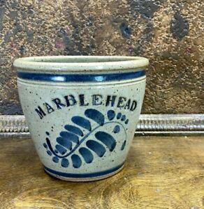 Vintage MARBLEHEAD POTTERY Blue Decorated Vase ~ Floral Crock Stoneware Pot