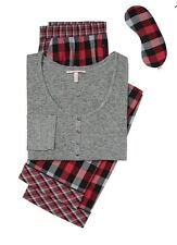 Victoria's  Secret Dream Henley Grey / Red Plaid Pajama Set New with Tags Large