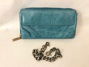 Hobo International Teal Green Crackled Leather Zip Around Clutch Wallet EUC!