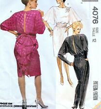 """EASY Vintage 80s BATWING DRESS & JUMPSUIT Sewing Pattern Bust 34"""" Sz 10 Evening"""