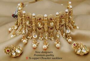 Bollywood Gold Plated Jewelry Indian CZ AD Kundan Choker Fashion Bridal P