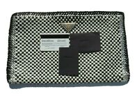 PRADA Black White Silver Woven Goat Leather Gold HW Madras Bag Clutch BP0406 EC