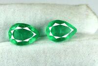 Zambian Emerald Gemstone Matching Pair 12-14 Ct Natural Pear Cut AGI Certified