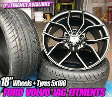 """FORD FOCUS MONDEO 18"""" ST STYLE WHEELS AND TYRES MATT BLACK VOLVO S40 5X108"""