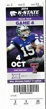 2014 KANSAS STATE WILDCATS VS TEXAS TECH TICKET STUB 10/4/14 FOOTBALL
