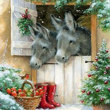 Donkeys & Robin Charity Christmas Cards Pack of 5 Donkey Traditional Xmas Cards