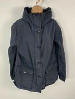 WOMENS GAP SIZE LARGE NAVY BLUE LIGHT WEIGHT ZIP CASUAL HOODED RAIN COAT JACKET