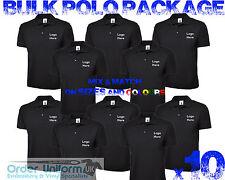 Personalizado Bordado Ropa De Trabajo Camisa Polo De Paquete Paquete a granel x10