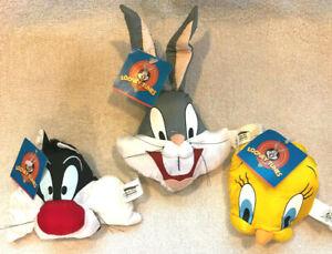 3x Looney Tunes Bean Bag Head Sylvester Bugs Bunny Tweety Bird 1997 Play By Play