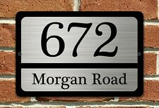 "Customized House Address Custom Plaque 12"" x 8"" Aluminum Black and Silver Sign"