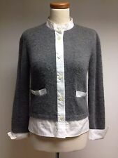 MARNI 100% CASHMERE & Cotton Knitted Grey  / White Shirt Top Jumper 38 UK 10 12