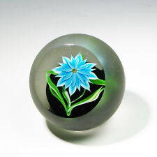 """Correia Glass Paperweight """"Blue Flower"""" Limited Edition Nr. 17/200 Collectible"""