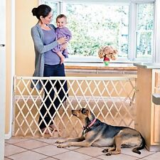 Gate Safety Expansion Swing Wide Doorway Baby Infant Child Pets Wood Retractable