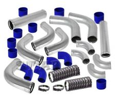 "Universal 2.5"" Aluminum 12 Pcs Turbo Intercooler Piping Pipe Kits Polished/Blue"
