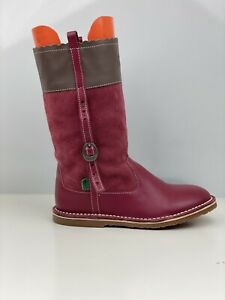 Kickers Girls Red Suede Mid Calf Boot UK Size 3
