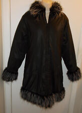 WOMENS COAT SIZE SMALL BLACK w/FAUX FUR TRIM MISS BETSY NEW FAST SHIPPING