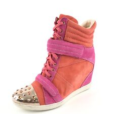 Boutique 9 Nevan Pink Orange Suede Hi-Top Wedge Ankle Boots Womens Size 10 M*