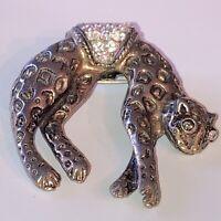 Vintage Costume Jewellery Crystal Rhinestone Leopard Big Cat Gold Tone Brooch