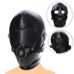 Hood Ball Gag Mask Head Harness Lockable Riding Bondage Fetish Sex Toy Gimp BDSM