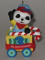 Hallmark Keepsake Ornament Child's Third Christmas Peppermint Express Panda 2001