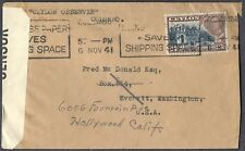 1941 CEYLON Censored Cover REDIRECT Colombo to Everett WA Hollywood CA JAN 1942