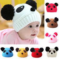 Toddler Baby Kids Knit Animal Panda Beanie Hats Double Pom Pom Bubble Warm Cap