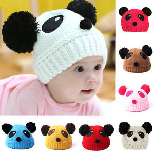 Kids Baby Toddler Girls Boys Cartoon Winter Beanie Knit Warm Panda Hats Cap