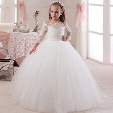 pitze Blumenmädchen Kleid Mädchen Kinder Festzug Hochzeits Brautjunferkleid