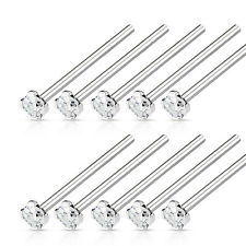 "10pcs LONG 3/4"" Fishtail Prong Set Clear Gem Nose Rings Wholesale Body Jewelry"