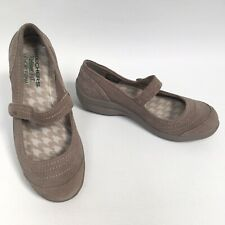 SKECHERS Relaxed Fit Memory Foam Taupe Suede Mary Janes Size UK 4