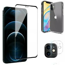 For iPhone 12/Pro/Max/Mini Case Clear Slim Cover,Camera Lens Screen Protector ☣☣
