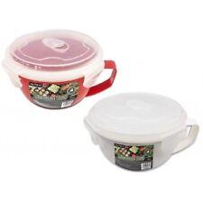 MICROWAVE FOOD BOWL RED Steamer With Lid Breakfast Pot Tub Food Storage 900ml