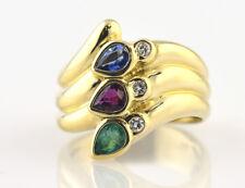 Ring, Dia, Saphir, Rubin, Smaragd 585 14K Gelbgold 3 Brillanten insges. 0,09 ct