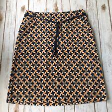 Talbots Skirt Women 10 M Cotton Stretch Pencil Straight Blue Print Geometric