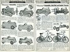 1940 2 Page Print Ad American Automobiles Skippy Pedal Car, Irish Mail, Tricycle