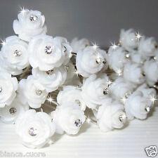 Forcine Acconciatura SPOSA Capelli cerimonia bianco FIORE rosa forcina D0374