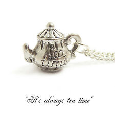Alice in wonderland necklace TEA POT necklace cup teapot party charm mad hatter