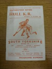 01/10/1966 programma Rugby League: Featherstone Rovers V HULL KINGSTON ROVERS (