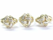 18Kt Baguette Diamond Criss Cross Yellow Gold Earrings & Ring Set 2.00Ct E-F/VS2