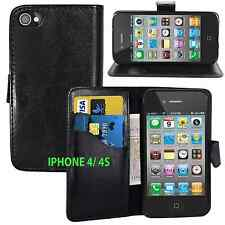 BLACK Wallets PU Leather Case with Card Slots&clip for Apple iPhone 4/4S UK SELL