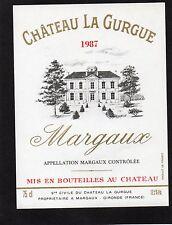 MARGAUX VIEILLE ETIQUETTE CHATEAU LA GURGUE 1987 75 CL  §18/01/17§