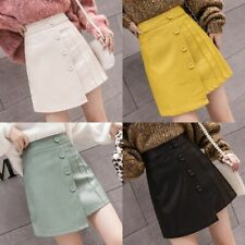 Leather Skirt Preppy Style High Waist Skirt Women Korean Chic Single Breasted