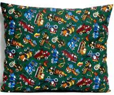Toddler Pillow Heavy Equipment on Green 100%Cotton Eq7 New Handmade